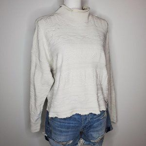 Vintage Distressed Knit Sweater Cropped Medium